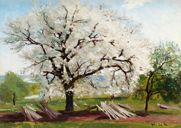 Hill, Carl Fredrik: The Flowering Fruit Tree/Apple Tree in Blossom. Fine Art Print/Poster. Sizes: A4/A3/A2/A1 (00493)